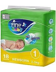 Fine Baby Fast Sorption, Size 1, Newborn, 2-5 kg, 18 Diapers