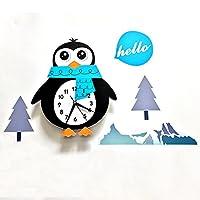 キッズウォール時計木製ペンギン時計赤ちゃん保育園装飾プレイルームの装飾電池