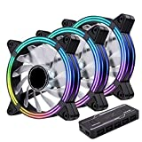 EZDIY-FAB 3-Pack 120mm Dual Frame RGB PWM Fans for PC Case,Ventilador de Caja RGB direccionable con hubs de Ventilador, Ventilador de refrigeración de la CPU, Compatible con ASUS Aura Sync