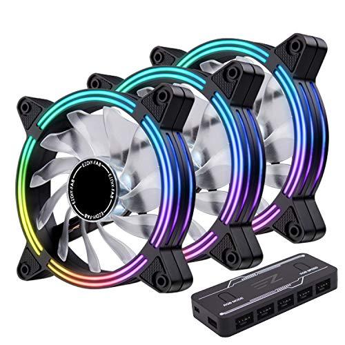 EASYDIY RGB ダブルスリムケースファン 120mm アドレサブル RGB 調節機能搭載 静音pmwタイプ,ファンハブ付...