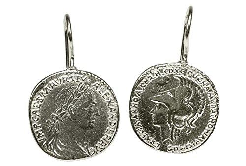 SILBERMOOS Damen Ohrhänger römische Münze Caesar antik rund glänzend 925 Sterling Silber Ohrringe Ohrschmuck