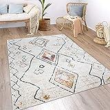 Paco Home Teppich Wohnzimmer Boho Ethno Marokkanische Muster Moderner Kurzflor Mit Struktur In Bunt Beige, Grösse:200x290 cm, Farbe:Creme 2
