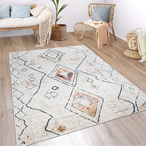 Paco Home Teppich Wohnzimmer Boho Ethno Marokkanische Muster Moderner Kurzflor Mit Struktur In Bunt Beige, Grösse:160x230 cm, Farbe:Creme 2