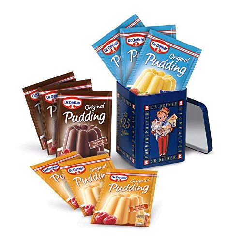 """Dr. Oetker gefüllte Jubiläumsdose """"Pudding-Page"""" das perfekte Geschenk für Puddingliebhaber: Aufbewahrungsbox mit Dr. Oetker Original Pudding Vanille-Geschmack, feinherbe Schokolade, Mandel-Geschmack"""