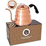 OPUX Gooseneck Kettle for Pour Over Coffee | Copper Kettle for Coffee Tea with Thermometer, Stovetop Pourover Kettle Hand Drip Barista with Long Spout, Exact Temperature Brewing | 40 fl oz