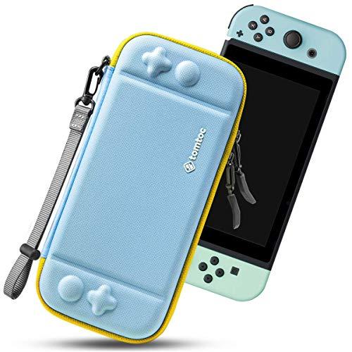 tomtoc Funda Ultra Delgada para Nintendo Switch, Patente Original Estuche Rígido con más Espacio de Almacenamiento para 10 Cartuchos, Case de Transporte con Protección de Estándar Militar, Azul Menta
