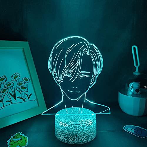 Hermoso regalo para niño, luces de noche LED RGB 3D, anime Yuri en hielo figura Victor Nikiforov Cool Colorido regalos Lámparas de lava dormitorio mesa manga decoración