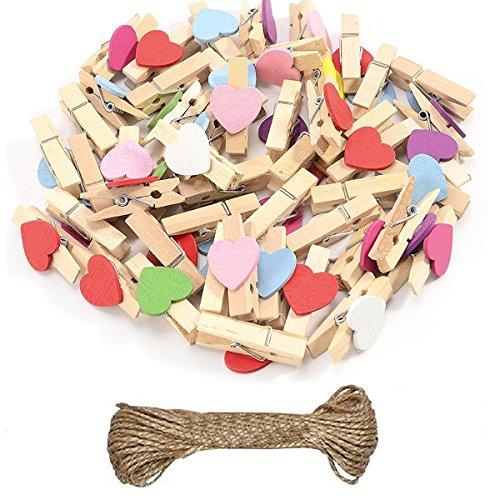 Mini Holz Wäscheklammern Herz Clips für Postkarte Fotopapier Kleiderroller mit 5 M Jute Twine