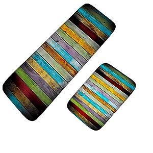 2 Pc Kitchen Rugs Set Non-Slip Kitchen Mats Colorful kitchen mat rug 2 pcs set Wood stripe design absorbent Nonslip stain resistant Carpet Doormat Foot pad kitchen bathroom bedroom Accessories,40 * 60