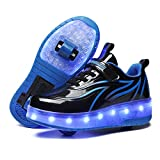 BFOEL Kids Roller Skates USB Chargable LED Light Up Shoes 2 Wheel Skate Sneaker Best Gift for Boys Girls Birthday Thanksgiving Christmas Day Black-Blue