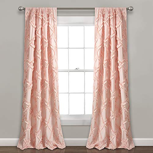 "Lush Decor, Blush Ruffle Diamond Curtains Textured Window Panel Set for Living, Dining Room, Bedroom (Pair), 84"" x 54, 84"" x 54"""