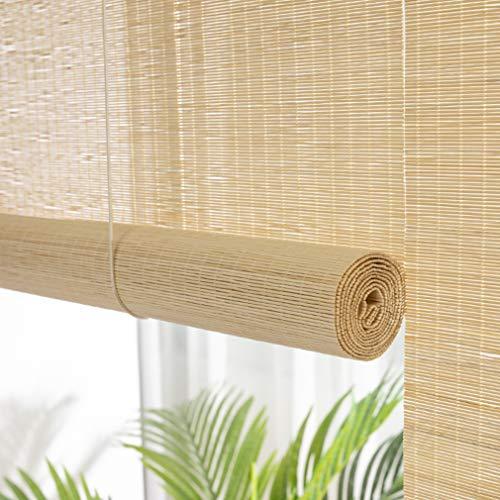 Bambus Raffrollo,Lichtfilter Bambus-Rollo,Decken- oder Wandmontage,Lichtdurchlässig,Blickdicht,Sichtschutz Rollo für Fenster und Türen,Küche,Wohnzimmer,Balkon,inkl Montaematerial (70x80cm/28x32in)