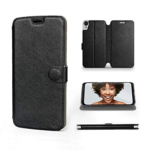 Mobiwear | Echt Lederhülle | Kompatibel mit HTC Desire 10 Lifestyle, Made in EU handyhülle, Slim Leather Hülle, Premium Flip Schutzhülle, Transparent TPU Silicon, Book Style, Tasche - Schwarzes Leder