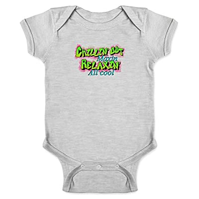 Chillin Out Maxin Relaxin All Cool 90s Retro Gray 6M Infant Baby Boy Girl Bodysuit