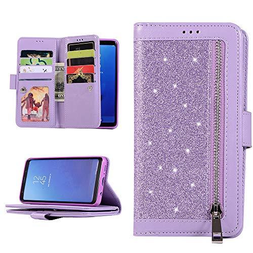 QC-EMART Custodia per Samsung Galaxy A51 Cover in Pelle Viola Glitter Brillante Portafoglio con Porta Carte Flip Caso in Libro Antiurto Morbido TPU Protettiva Case