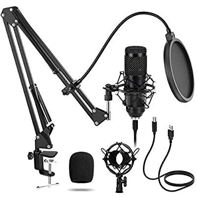 USB Microphone Kit Condenser PC Cardioid Mic 192KHZ/24Bit,Sucastle Professional Studio Podcast Microphone Plug and Play with Adjustable Microphone Stand Suspension Scissor Boom Arm Shock