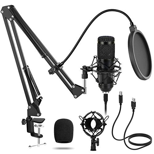 USB Microfono di Registrazione a Condensatore Kit Sucastle 192kHZ/24bit Microfono Cardioide per YouTube Voice Over con Filtro Antipop, Supporto Regolabile, Ragno Anti Shock, Filtro Anti-Vento