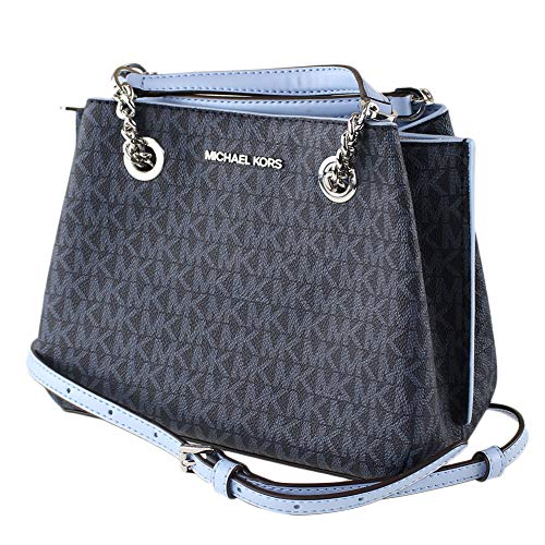 Michael Kors Teagan Small Satchel Crossbody Admiral Blue MK Signature Light Sky