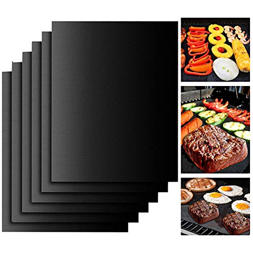 NYKKOLA Grillmatte – Set von 6 strapazierfähigen Antihaft-Backmatten wiederverwendbar für Gas-, Holzkohle- und Elektro-Grillöfen