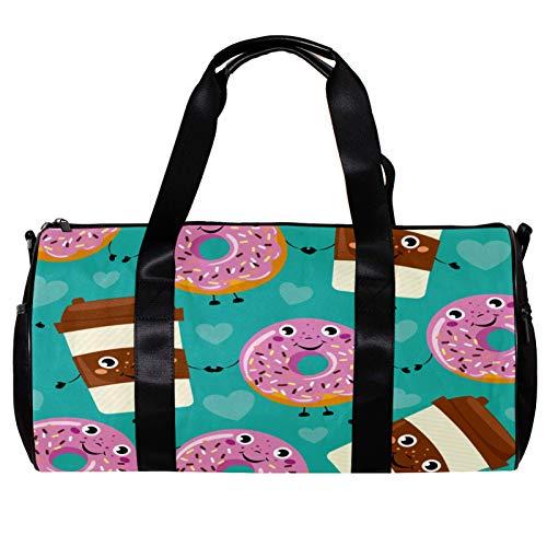 Bolsa de deporte redonda con correa de hombro desmontable de dibujos animados donut bebidas café cara azul entrenamiento bolso de noche para mujeres y hombres
