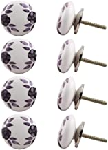 Indian-Shelf Handmade Ceramic Floral Drawer Knobs Furniture Pulls Cabinet Handle(Purple, 1.5 Inches)-Pack of 8