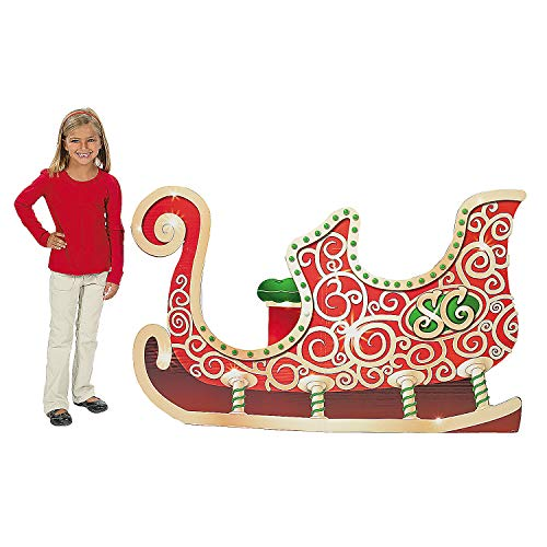 Cardboard Santa Sleigh Stand up for Christmas (5 feet long) Party Decor