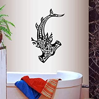 Wall Vinyl Decal Home Decor Art Sticker Hammerhead Shark Fish Tribal Ocean See Bathroom Shower Bedroom Room Removable Stylish Mural Unique Design