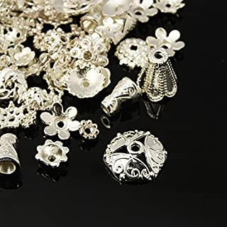 Pewter Silver Plated Bead Caps, Cones, Cord Ends & Findings Mix for Jewelry Making, Tassels