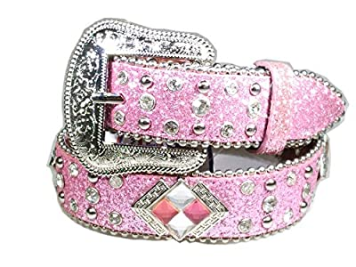 Western Cowboy Cowgirl Leather Shiny Belt for Kids (Large)
