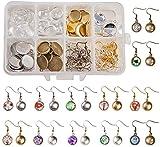 1 scatola fai da te 30 paia di orecchini pendenti cabochon kit per la creazione di 60 pezzi di castoni con 60 cabochon in vetro da 12 mm, ganci per orecchini, argento + oro