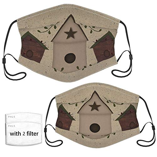 Primitive Birdhouses Face Mask with 2 Pcs Filters, Reusable and Washable, Adjustable Elastic Earrings Soft and Breathable Kids Face Mask Balaclava,for Older Children and Adults