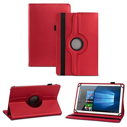 NAUC Robuste Carbon-Optik Tablet Schutzhülle für TrekStor SurfTab Twin 10.1 aus Kunstleder mit Standfunktion & 360° Drehfunktion Hülle Cover Case Stand Tasche Ständer, Farben:Rot