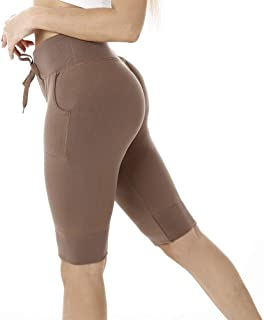 Yuzoe High Waisted Yoga Athletic Leggings for Women Non See-Through Drawstring Shorts Workout Pants with Pockets