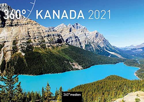 360° Kanada Klappkalender 2021: Wandkalender mit Kalendarium zum Aufklappen (A4 quer, offen A3 hoch)