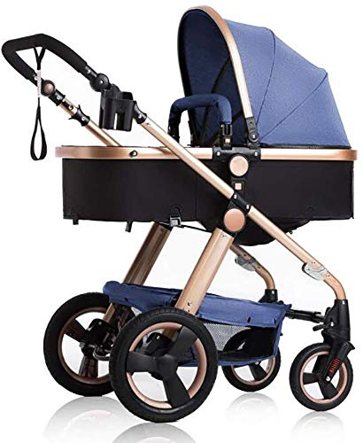 LAMTON Baby Stroller for Newborns, can sit and Recline Fast Folding Four Seasons Baby Stroller Suitable for Newborns to Send 6 Gifts, Suitable for 0-36 Months Baby LAMTON The stroller frame is made of stainless steel to make the stroller stronger. The stroller awning is made of linen and is very breathable. Stroller configuration: equipped with five-point seat belt, detachable armrest, adjustable push rod height, bottom enlarged basket The front wheel design of the stroller can be rotated 360°, the built-in spring shockproof, strong shockproof, adapt to all kinds of bumpy roads, make the baby more comfortable 1
