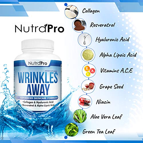 513fpGQcknL - Skin Vitamins To Reduce Wrinkles and Fine Lines. The Only Skin Supplement With Collagen, Resveratrol and Hyaluronic Acid Together To Renew Skin by NutraPro. | Launch Special Price |
