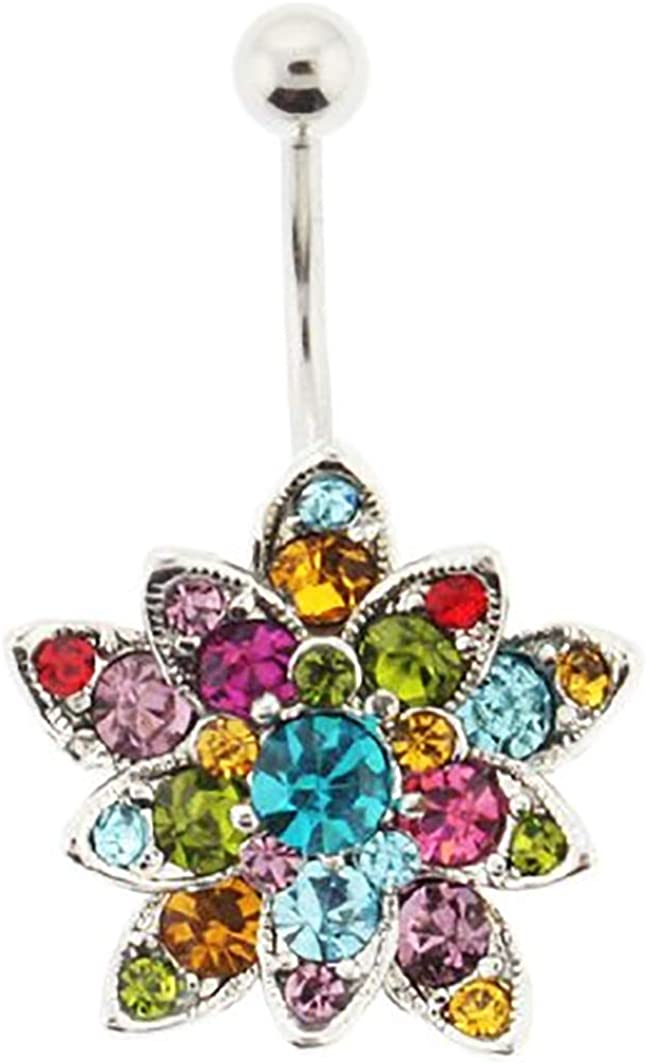 26 Assorted Colorful Crystals Set Flower Belly Ring - 14G - 3/8