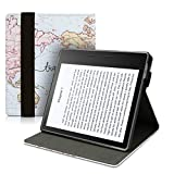 kwmobile custodia verticale e-reader compatibile con amazon kindle oasis 10. generation - con fascia e leggìo - flip case in pelle pu - mappa del mondo nero/multicolore