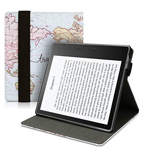 kwmobile Étui pour liseuse Compatible avec Amazon Kindle Oasis 10. Generation - Étiu Housse Rabat liseuse en Simili Cuir Noir-Multicolore