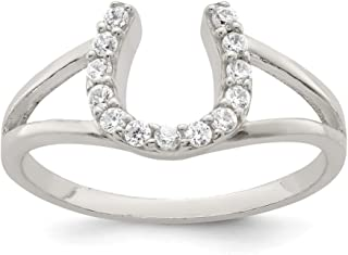 925 Sterling Silver Cubic Zirconia Cz Horseshoe Band Ring Good Luck Fine Jewelry For Women Gift Set