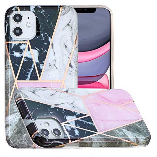 Miagon Marmor Hülle für iPhone 12 Mini,Dünn Weich Silikon Flexible Handyhülle Schutzhülle Galvanisiert Marble Bumper Handytasche Zurück Cover Gummi,Schwarz Rosa