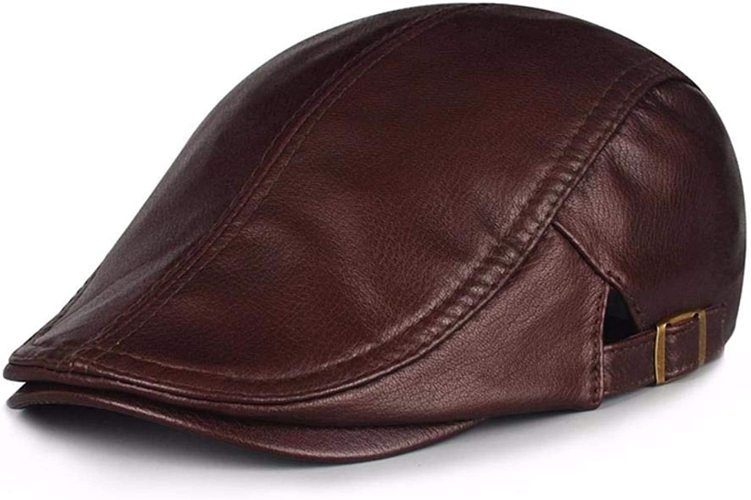 Chuiqingnet Men's and women's autumn and winter leather hat caps beret
