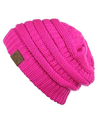 C.C Trendy Warm Chunky Soft Stretch Cable Knit Beanie Skully, Neon Pink