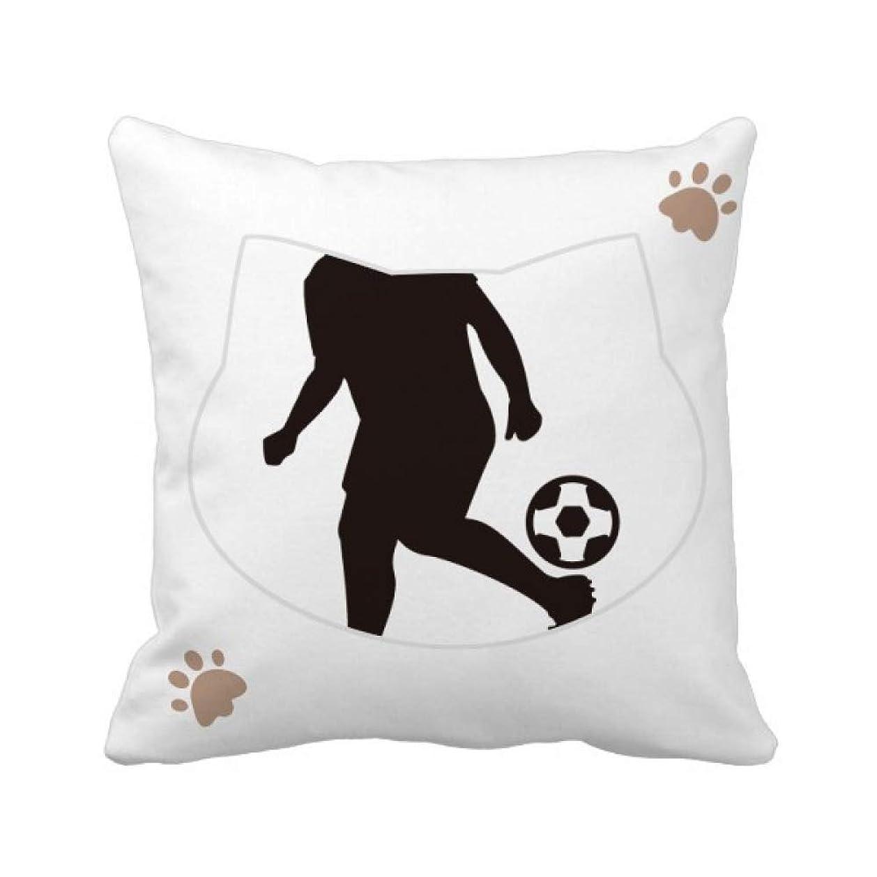 熱帯の剪断クライストチャーチサッカーのスポーツのシルエット 枕カバーを放り投げる猫広場 50cm x 50cm