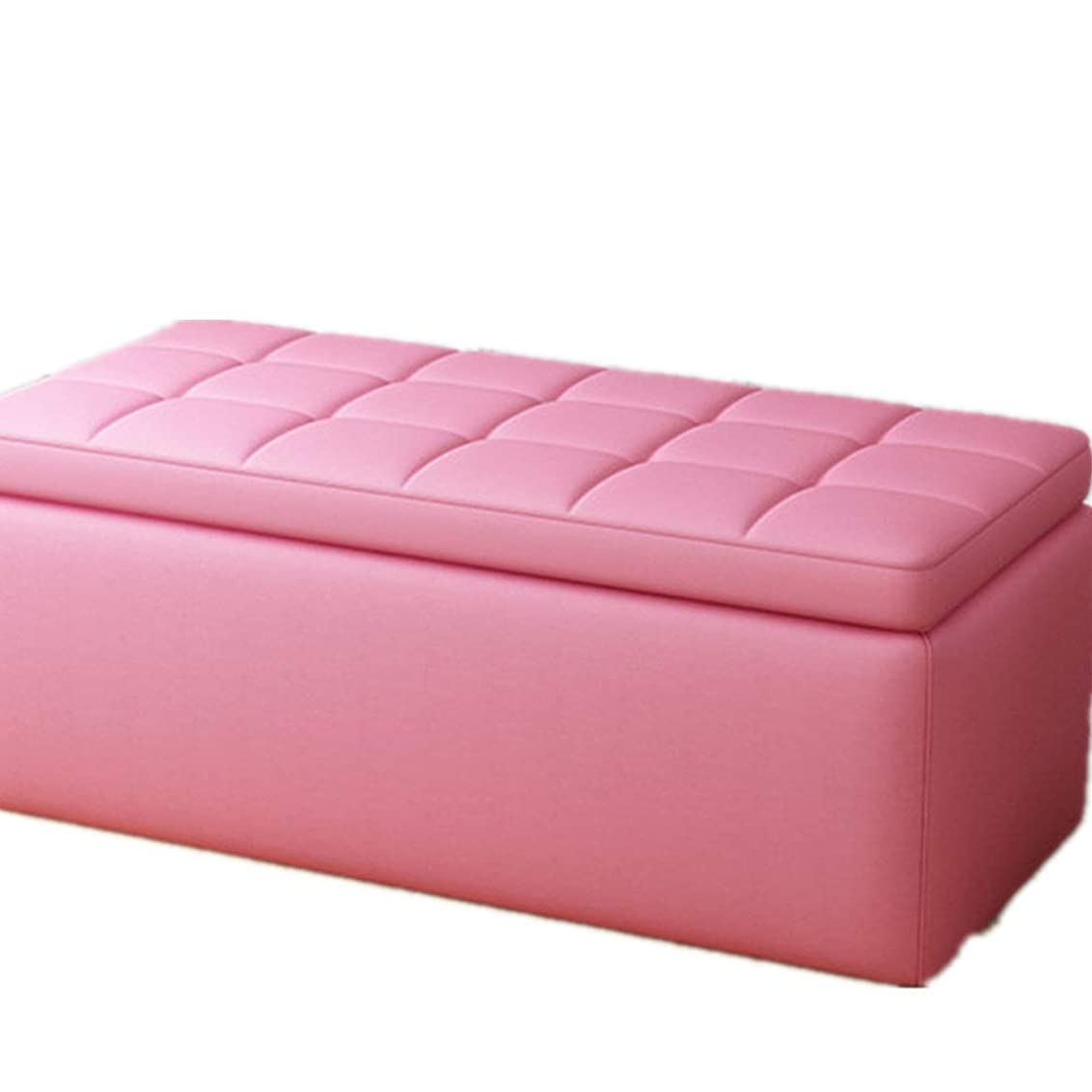 駅一口応答収納スツール のどの革リビングルームのソファスツール多目的ベンチで強い折りたたみ収納ボックス玩具箱 スツール (色 : ピンク, サイズ : 120*40*40CM)