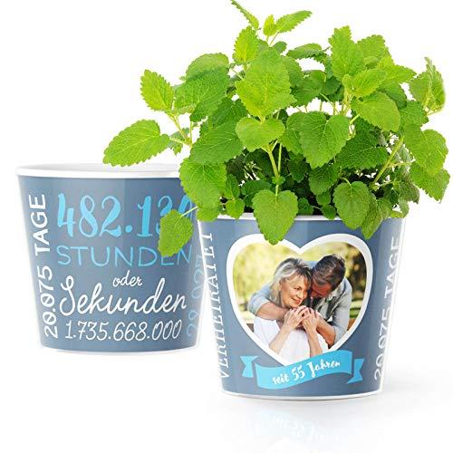 55. Hochzeitstag Geschenk – Blumentopf (ø16cm) | Deko Geschenke zur Platinhochzeit für Mann oder Frau mit Herz Bilderrahmen für 1 Foto (10x15cm) | Glücklich Verheiratet - 55 Jahre