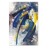 Tinta azul abstracta tendencia estilo pincel pintura sobre lienzo cartel arte de la pared impresión ...