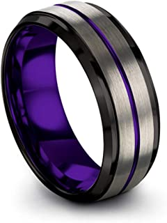 Tungsten Carbide Wedding Band Ring 8mm for Men Women with Green Red Fuchsia Copper Teal Blue Purple Black Grey Center Line and Step Bevel Edge Black Grey Brushed Polished