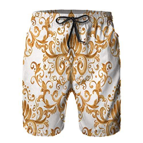 Hombres Verano Secado rápido Pantalones Cortos Playa ilustración Vectorial Lujo Textura Fondos de Escritorio Tela Trajes de baño Correr Surf Deportes-S