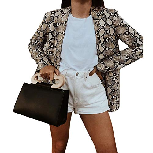 Womens Open Front Snake Print Vest Suit Formele Klassieke Blazer Zakelijke Jas Suits Casual Luxe Vintage Retro Smart Elegante Diner Suits Jas Waistcoat Trench